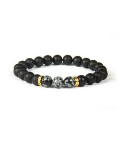 black mat silver bracelet