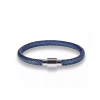 Rock Leather Armband zilver Blauw