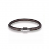 Rock Leather Armband zilver Bruin